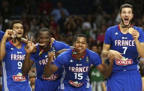 De gauche à droite : Jackson, Kahudi, Gelabale, Lauvergne, la relève de l'équipe de France
